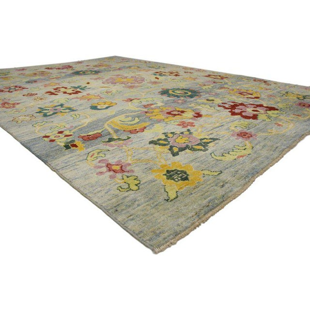 """Contemporary Turkish Oushak Modern Style Area Rug - 9'7"""" X 13'3"""" For Sale - Image 3 of 5"""
