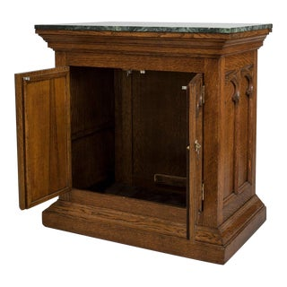 Turn of the Century English Gothic Revival Marble and Oak Commode For Sale