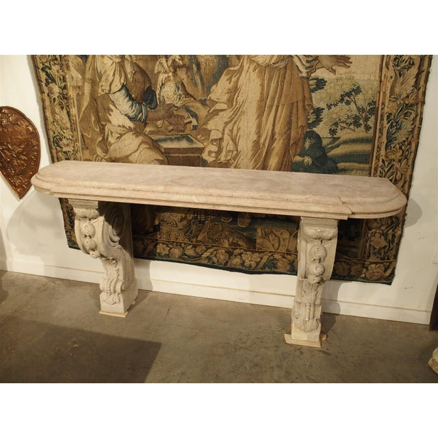 Antique Marble Top Console Table from South-East France For Sale - Image 10 of 10