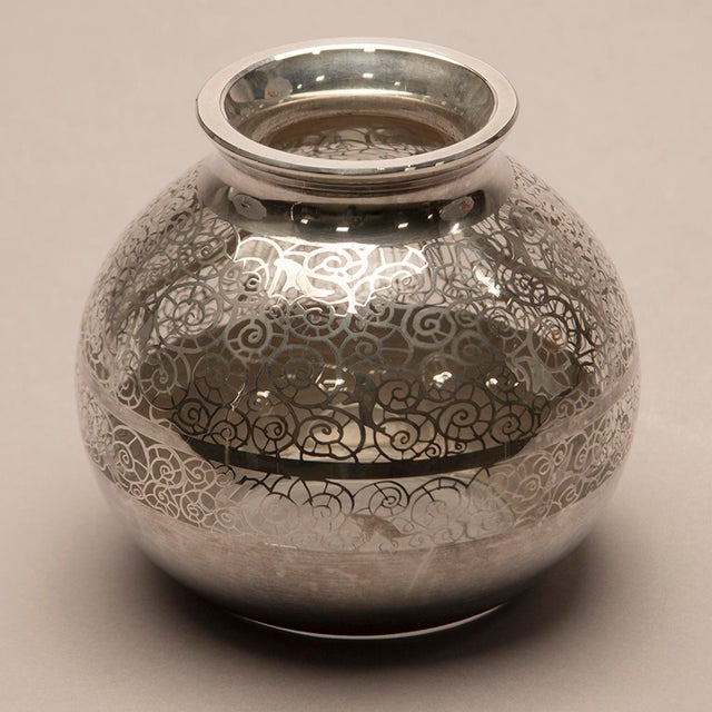 Glass 1950s Round Silver Overlay Vase For Sale - Image 7 of 7