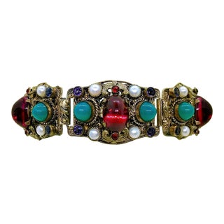 1940s Czech Austro-Hungarian Revival Jeweled Bracelet For Sale