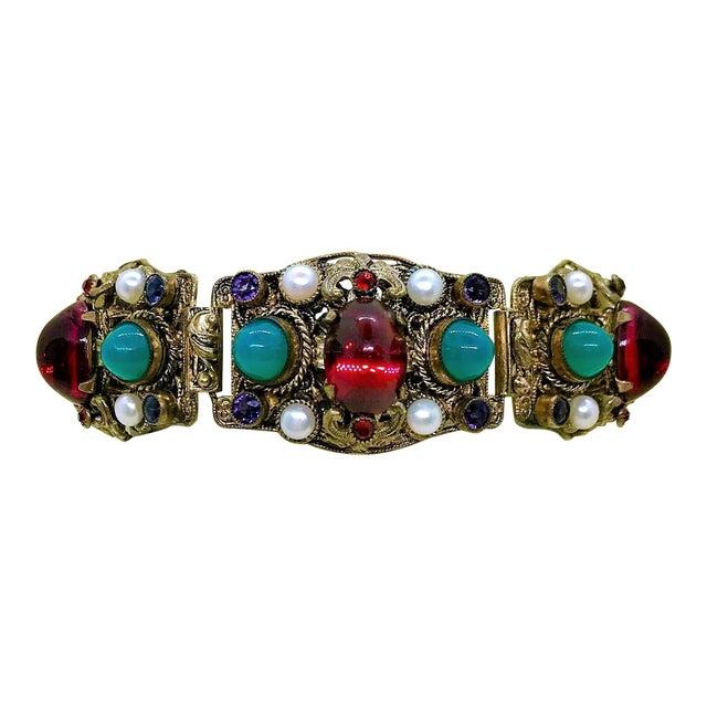 1940s Czech Austro-Hungarian Revival Jeweled Bracelet For Sale