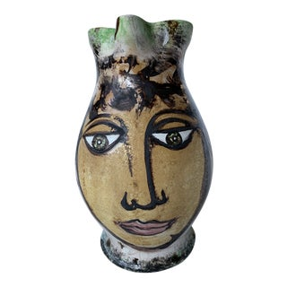 Vintage Italian Pottery Hand Painted Face Pitcher Vase For Sale