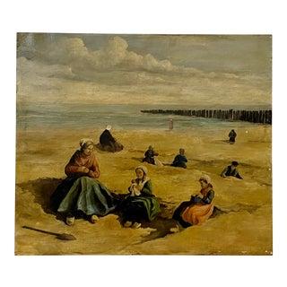 Johannes Evert Hendrik Akkeringa Oil on Panel Beach Scene C.1920 For Sale