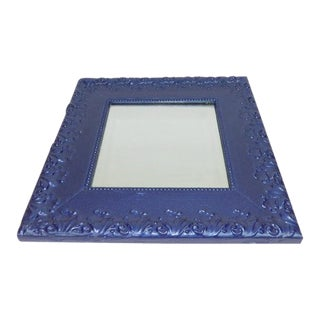 Antique Blue Square Mirror