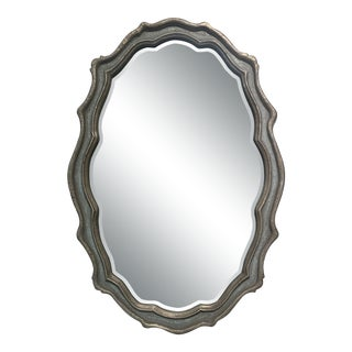 Scalloped Edge Oval Metal Gray Mirror For Sale