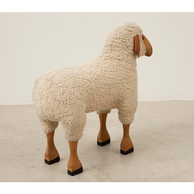 Mid-Century Modern Life-Sized Sheep in Sheepskin and Beech, Germany, 1970s For Sale - Image 3 of 13