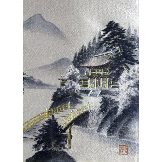 Early 20th Century Framed Early 1900's Japanese Pagoda Pictorial Entirely Hand Embroidered Silk, Signed For Sale - Image 5 of 7