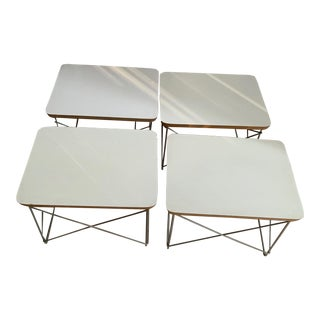Charles and Ray Eames for Herman Miller Ltr White Tables - Set of 4 For Sale