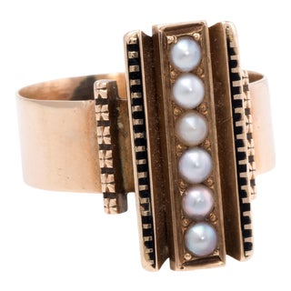 Antique Victorian Seed Pearl Enamel Ring 14k Rose Gold For Sale