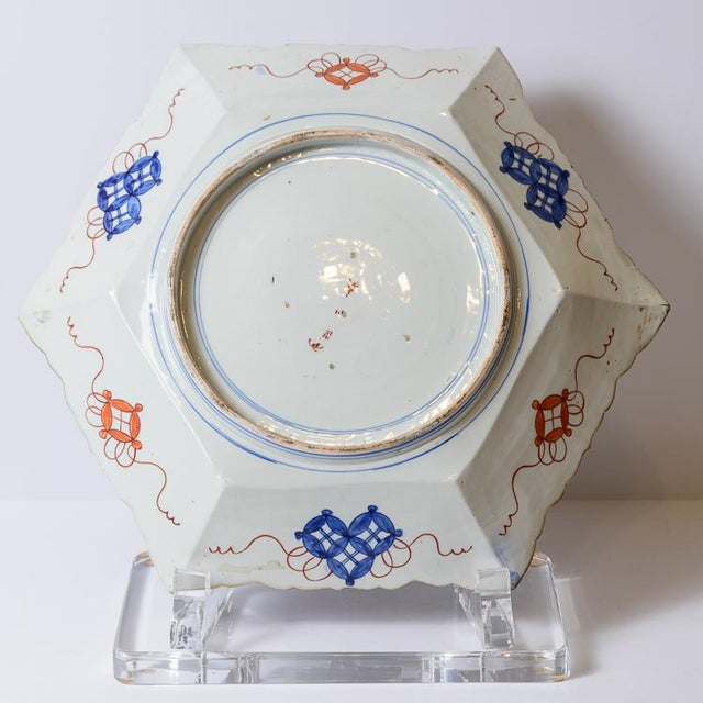Asian C. 1850 Blue and Orange Floral Imari Charger For Sale - Image 3 of 8