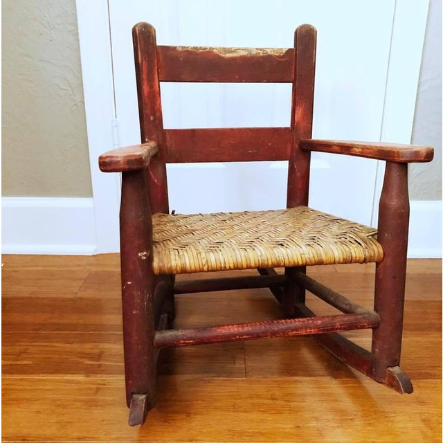 Wicker Antique Handmade Children's Red Rocking Chair With Wicker Seat For Sale - Image 7 of 9