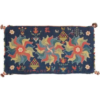 Antique Swedish Needlepoint Pillow Case, 1784 For Sale