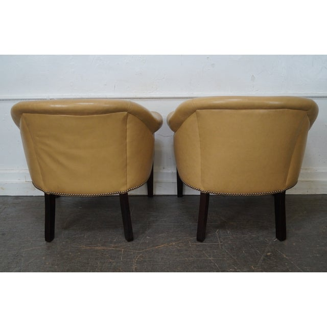 Barrel Back Leather Club Chairs - A Pair For Sale - Image 4 of 10