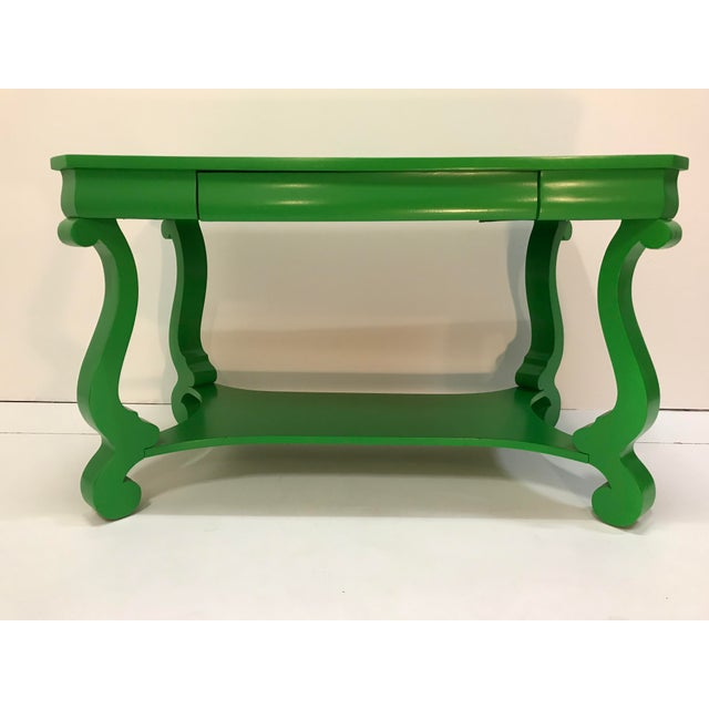 Wood 19th Century America Empire Revival Library Writing Desk Table Painted Green Home Office For Sale - Image 7 of 7
