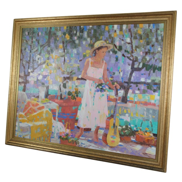 """""""Pang Jen (Pong Zhen, Peng Jen) late 20th century original oil on canvas. Features a girl with a guitar on a patio..."""