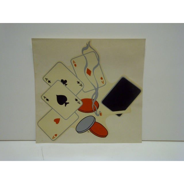 """American Vintage 1930s Decal / Wall Decoration """"Poker Night"""" the Meyercord Co. Chicago For Sale - Image 3 of 5"""
