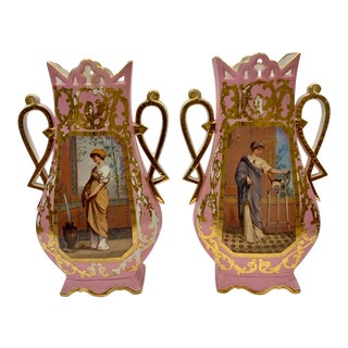 1910's Pink Handled Gold Details Vases with Portrait of Woman on Front - a Pair For Sale