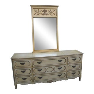 French Provincial Painted Dresser With Mirror by Baker For Sale