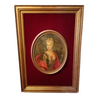 Victorian Lady Matted Red Velvet Framed Portrait Print For Sale
