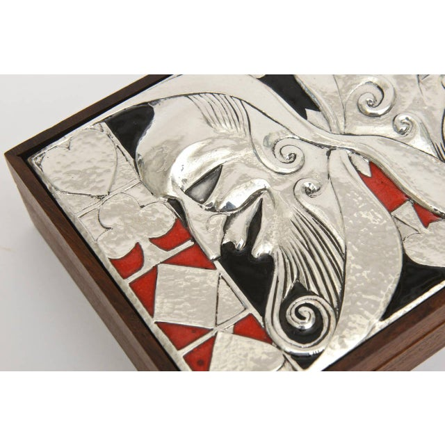 Italian Ottaviani Sterling Silver, Enamel and Wood Card Playing Box - Image 10 of 10