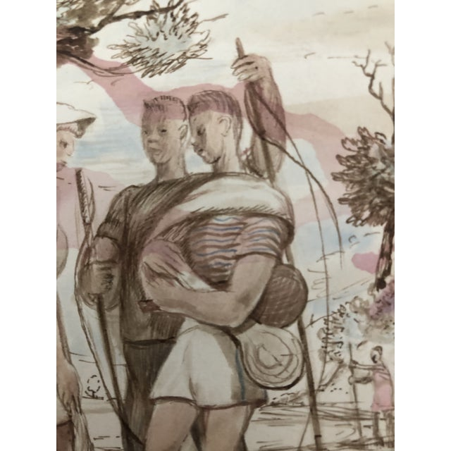 Figurative Sporting Watercolor by William Palmer, 1940 For Sale - Image 4 of 7