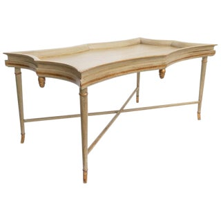 Chippendale Style Cocktail Coffee Table Crackle Finish Gold Leaf Accents For Sale