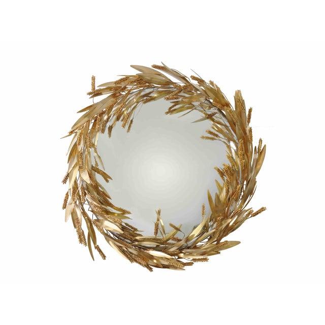 Robert Goossens Crown of Wheat Mirror in Bronze and Brass by Robert Goossens, Circa 1970 For Sale - Image 4 of 5