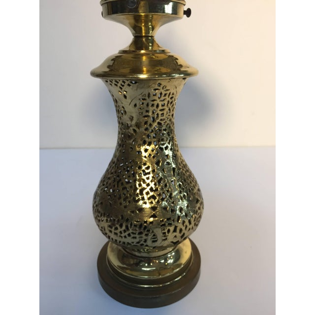 Islamic Moorish Revival Brass Syrian Table Lamp For Sale - Image 3 of 11