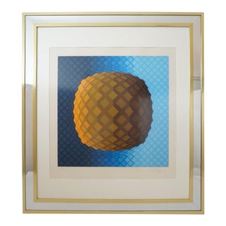 Vintage Vasarely Pencil Signed and Numbered Limited Edition 226/250 Op Art Original Print Custom Mirror Framed For Sale