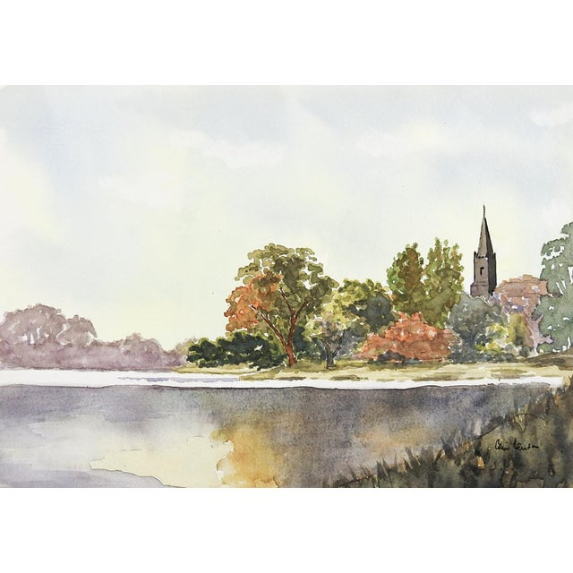 Lakeside landscape watercolor on paper. Signed illegibly lower right. Unframed.