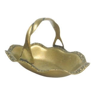 Mid-Century Ruffle Handle Basket Solid Brass Candy Dish For Sale