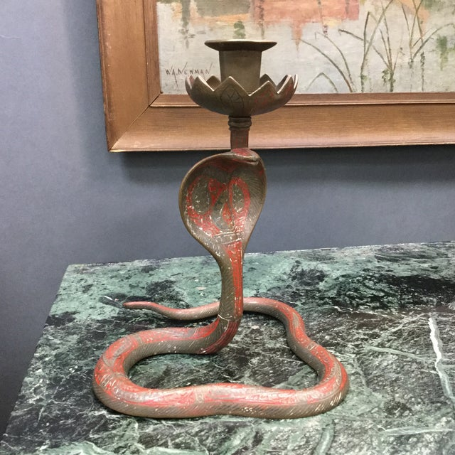 Brass Enameled Cobra Candle Holder - Image 6 of 8