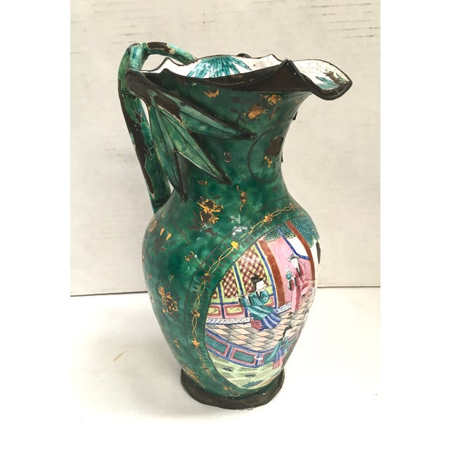 Asian Asian Enamel on Copper Pitcher For Sale - Image 3 of 11