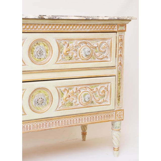Hollywood Regency Painted Venetian Style Commode With Marble Top For Sale - Image 3 of 12