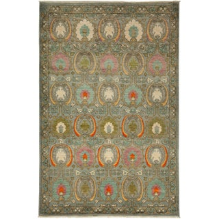 "Hand-Knotted Suzani Green Wool Rug - 6'1"" X 9'1"" For Sale"
