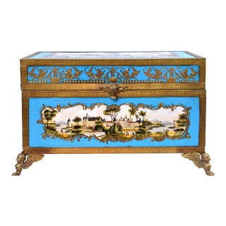 Celeste Sevres Style Porcelain Jewelry Casket For Sale
