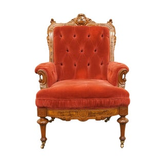 1920s Vintage French Imperial Style Red Upholstered Accent Chair For Sale