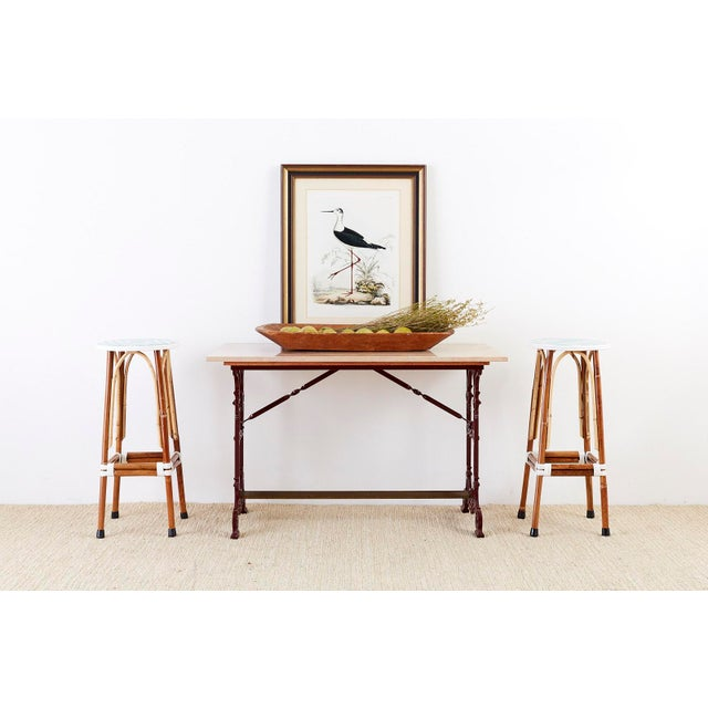 Set of Three Maison Gatti Rattan French Bistro Barstools For Sale - Image 10 of 13