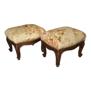 Pair of Small French Louis XV Style Footstools With Antique Aubusson Silk Fabric For Sale