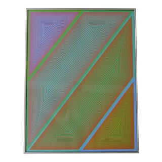 """1970s """"Grandeur"""" Op Art Abstract Serigraph from the Inward Eye Portfolio by Richard Anuszkiewicz, Framed For Sale"""