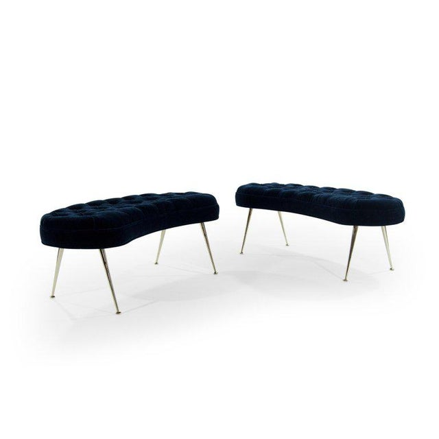 Tufted Benches in Deep Blue Mohair (Pair Available) For Sale In New York - Image 6 of 12