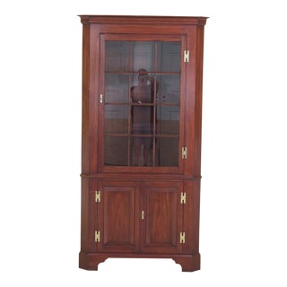 1990s Vintage Henkel Harris Cherry Model 1114 China Cabinet For Sale
