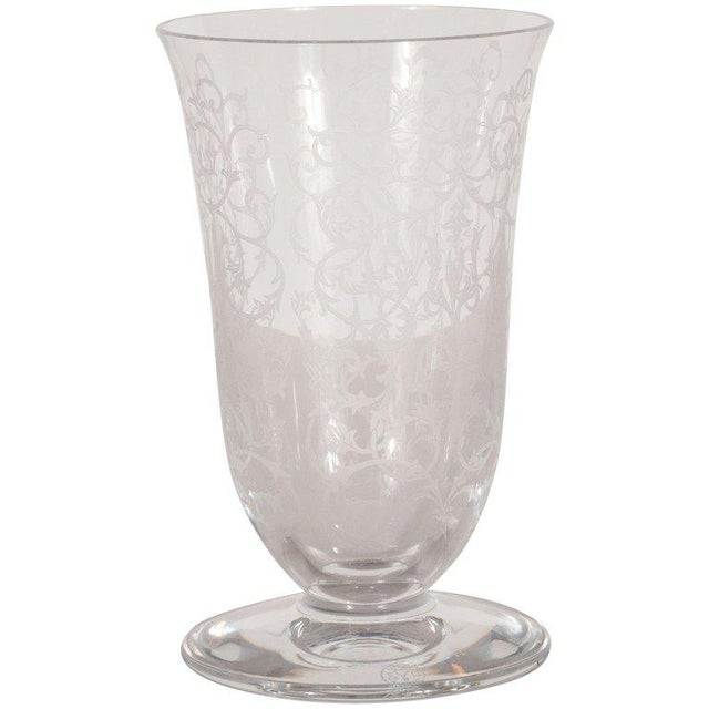 French Mid-Century Modern Foliate Etched Crystal Vase by Baccarat For Sale - Image 9 of 9
