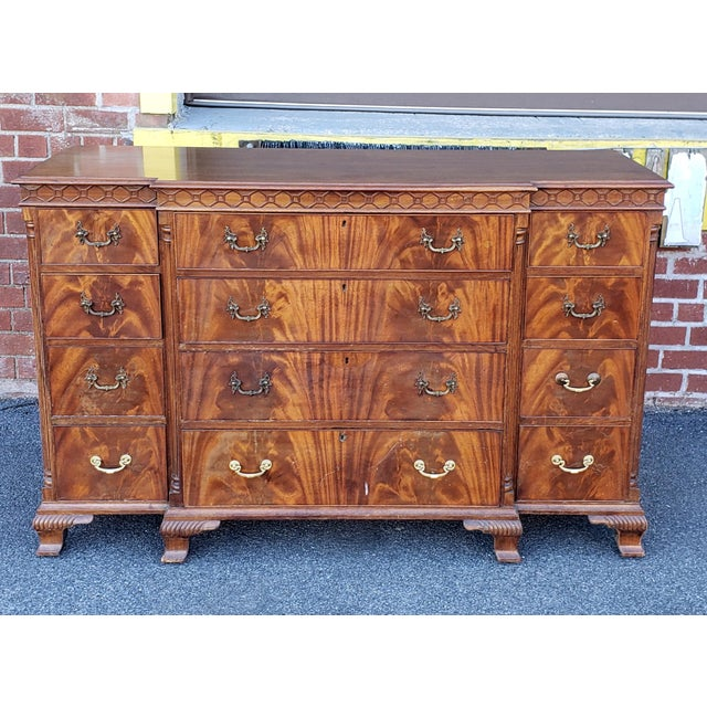 Antique 1920s W&j Sloane Flame 12 Drawer Mahogany Dresser ~ Hallway Cabinet For Sale - Image 13 of 13