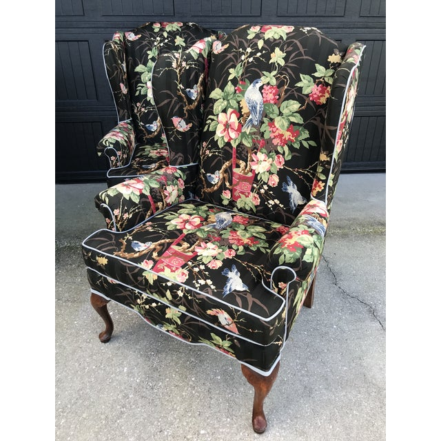 Chinoiserie Upholstered Wing Bach Chairs For Sale - Image 12 of 13