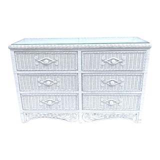Mid 20th Century Vintage Wicker Rattan Dresser For Sale