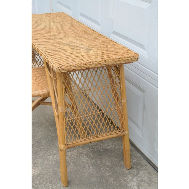 1950s Wicker Rattan Desk and Chair - a Set For Sale - Image 4 of 12