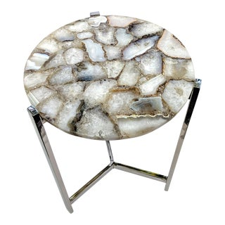 Jonathan Adler Inspired Organic White Agate Accent Table With Chrome Legs For Sale