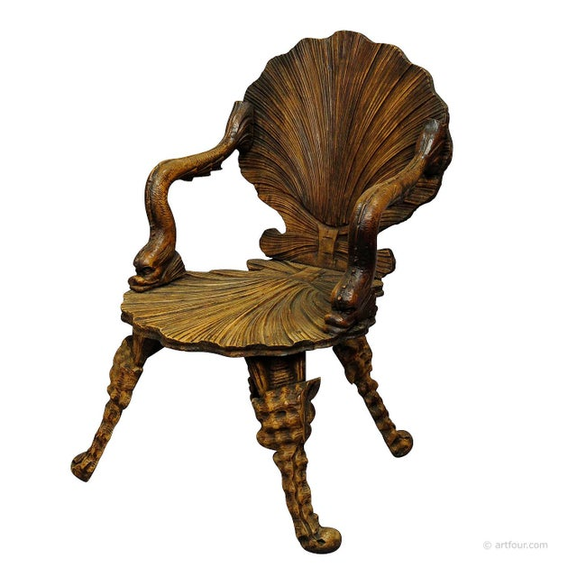 Antique Wooden Carved Grotto Armchair Ca. 1880 For Sale - Image 9 of 9